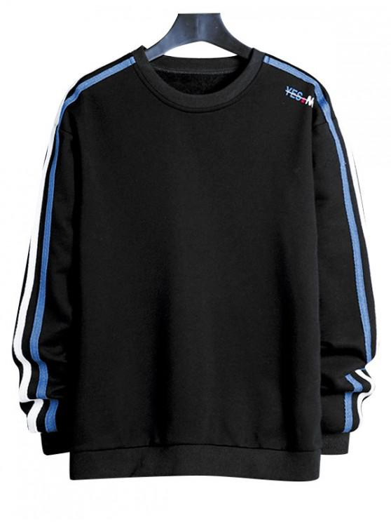online Contrast Striped Letter Print Crew Neck Sweatshirt - BLACK XS