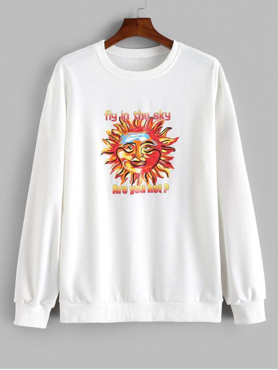 Moletom Casual de Sol Letra Impressa - Branco 2XL