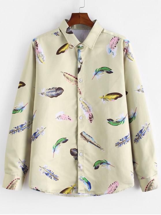 sale Feather Print Long Sleeve Satin Shirt - MULTI 2XL