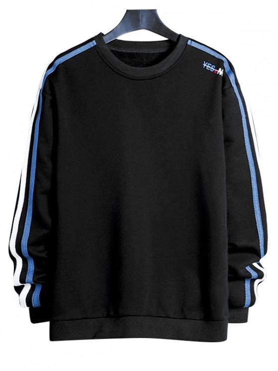 womens Contrast Striped Letter Print Crew Neck Sweatshirt - BLACK L