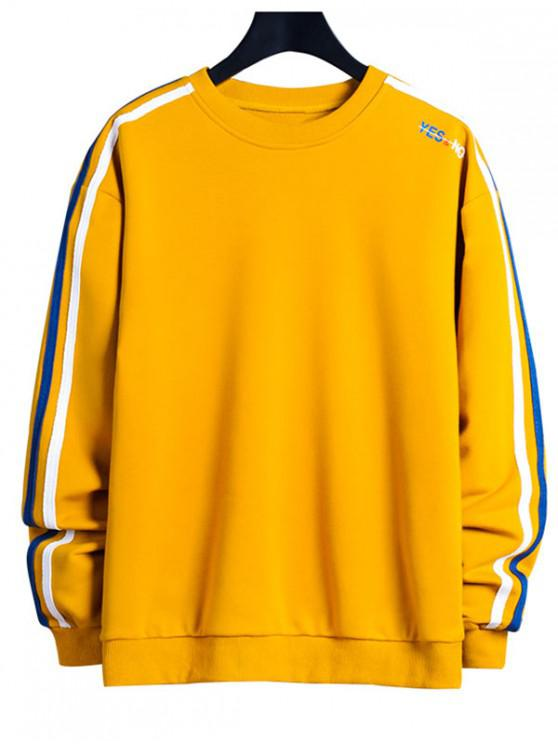 best Contrast Striped Letter Print Crew Neck Sweatshirt - SUN YELLOW XL