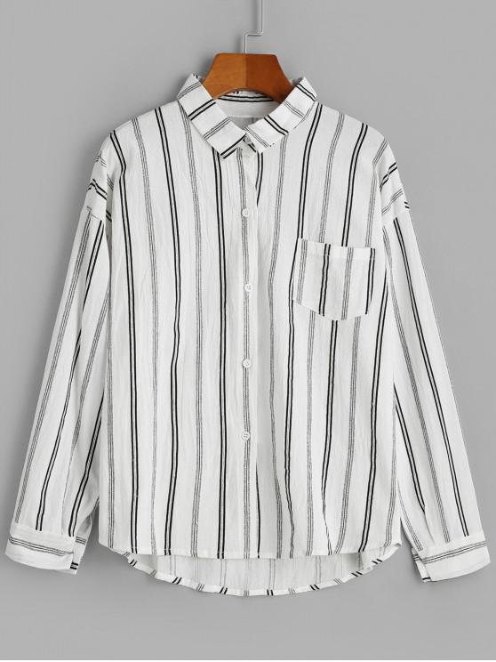 women's Front Pocket Stripes Button Down Shirt - WHITE ONE SIZE