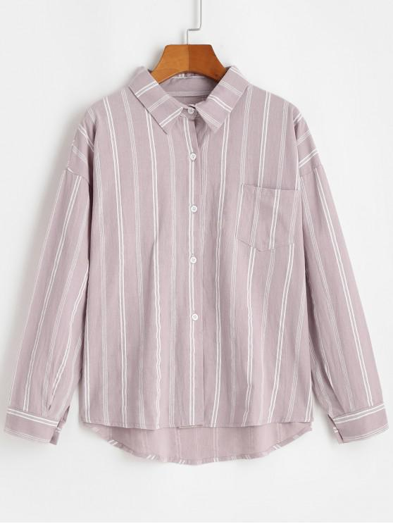 hot Front Pocket Stripes Button Down Shirt - PIG PINK ONE SIZE