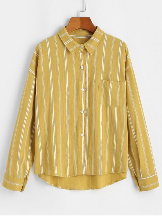 womens Front Pocket Stripes Button Down Shirt - YELLOW ONE SIZE