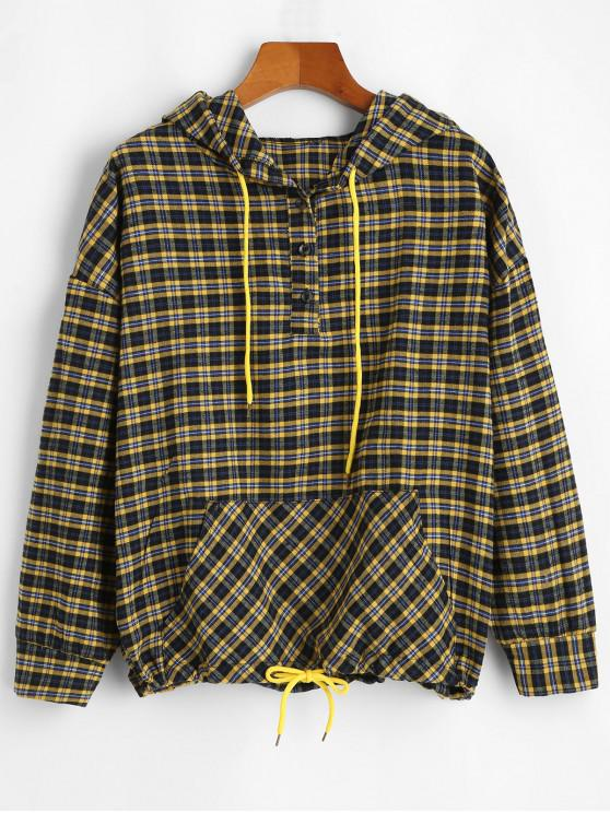 unique Half Buttoned Plaid Front Pocket Hoodie - MULTI-A M