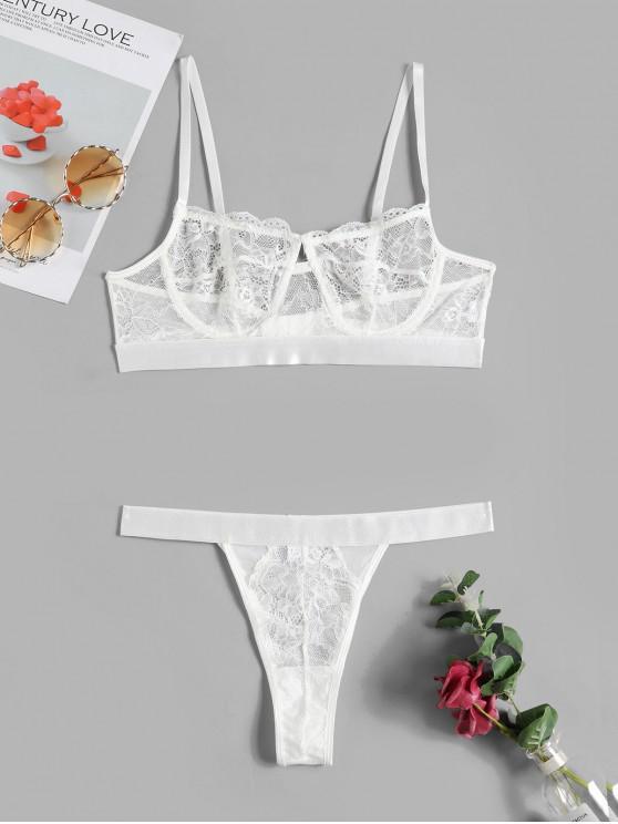 online Underwire Lingerie Lace Bra Set - WHITE L