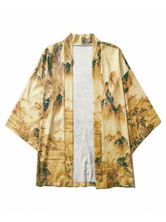 women's Ancient Oriental Landscape Painting 3D Print Kimono Cardigan - APRICOT XL