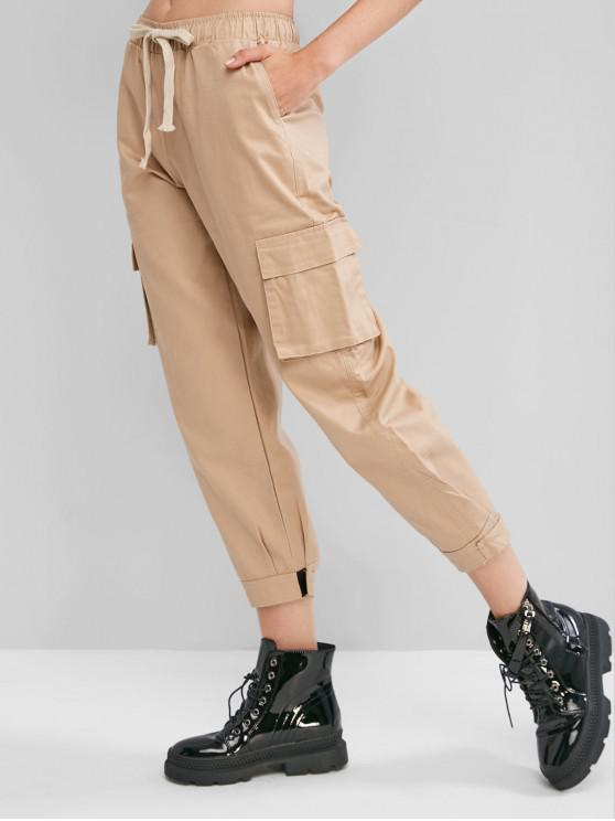 online Hook and Loop Fasteners Ankle Cargo Pants - LIGHT KHAKI XS