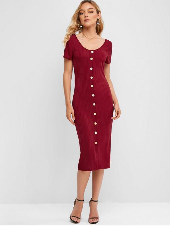 ladies Button Up Scoop Neck Sheath Dress - RED WINE M