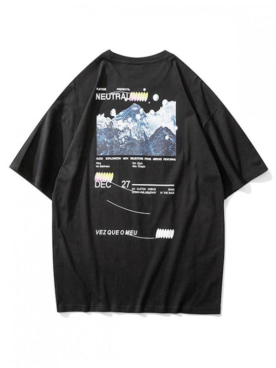 outfit Mountain Graphic Letter Print Short Sleeve T-shirt - BLACK M