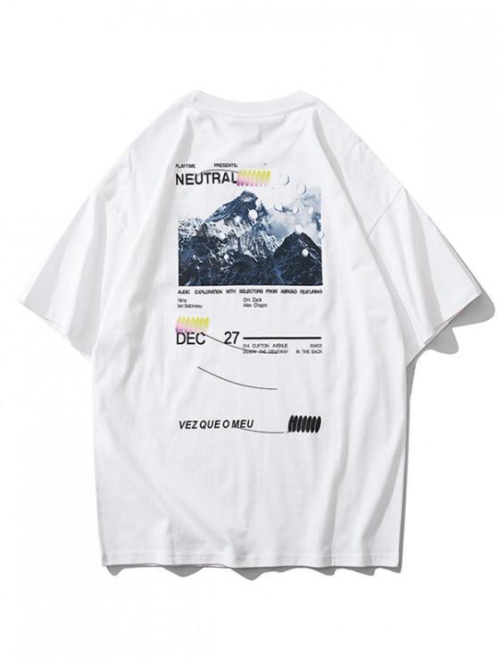 ladies Mountain Graphic Letter Print Short Sleeve T-shirt - WHITE XL