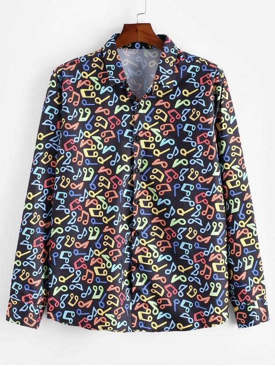 latest Music Note Print Button Up Casual Shirt - MULTI 2XL