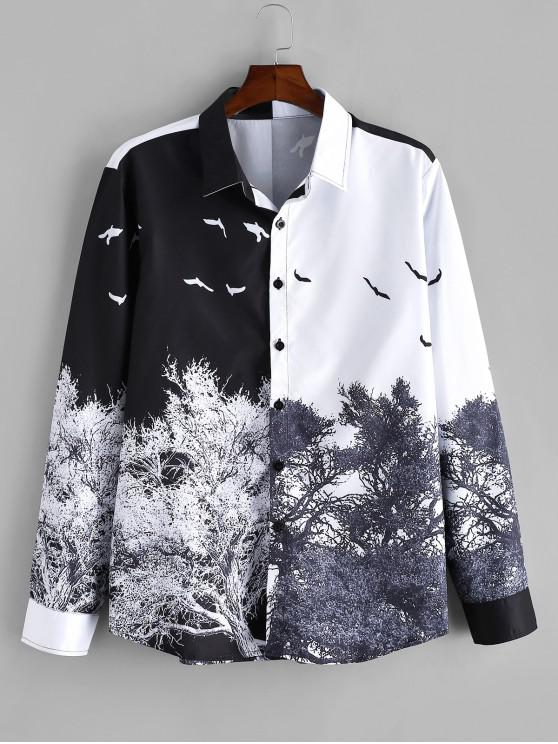 chic Chinese Style Tree Print Long Sleeve Shirt - MULTI 2XL