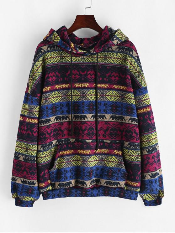 lady Drawstring Front Pocket Tribal Print Hoodie - BLUEBERRY BLUE XL