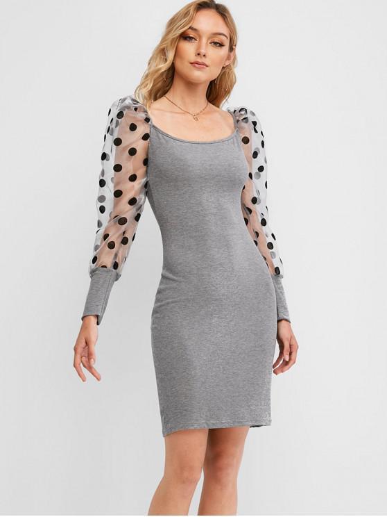 圓點紗面板Bodycon連衣裙 - 灰色 S