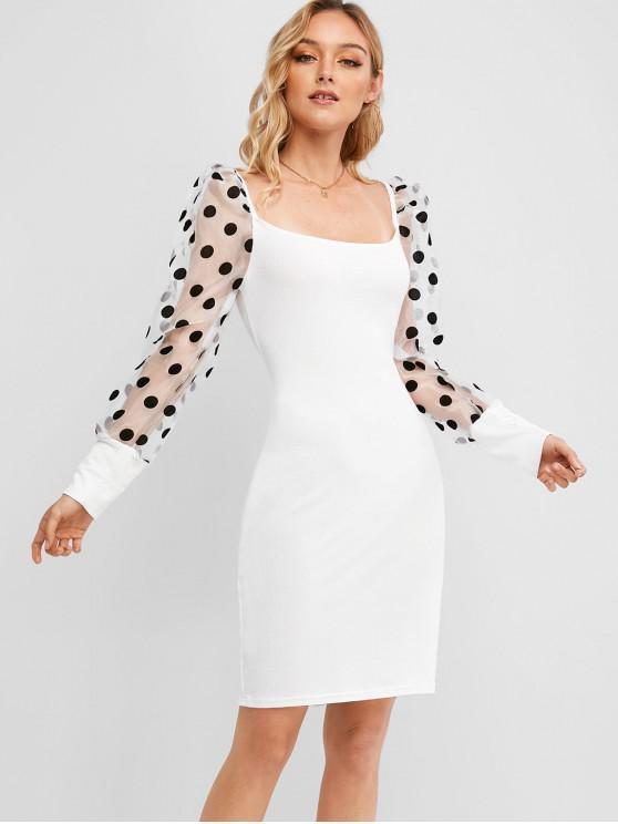 圓點紗面板Bodycon連衣裙 - 白色 XL