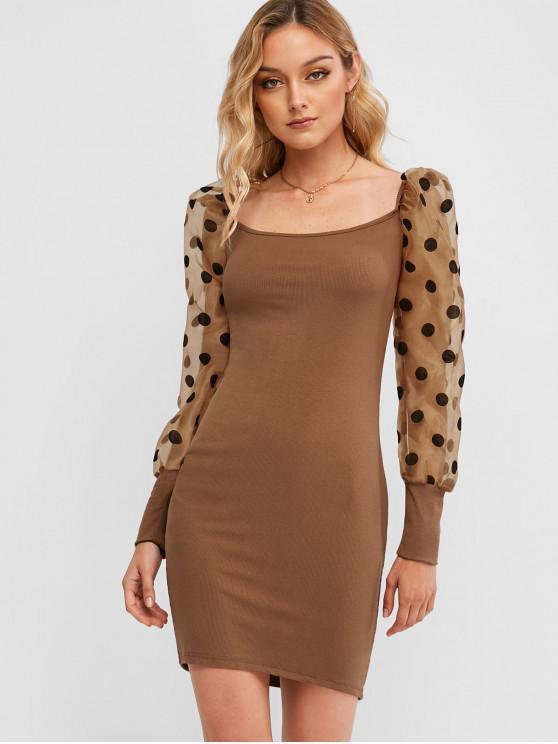 圓點紗面板Bodycon連衣裙 - 棕色 S