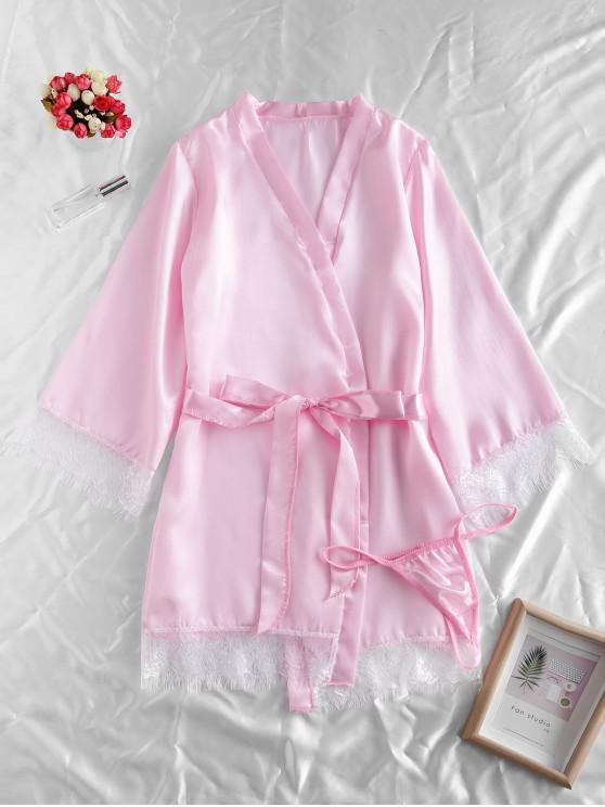 chic Lace Trim Satin Robe Set - PIG PINK M