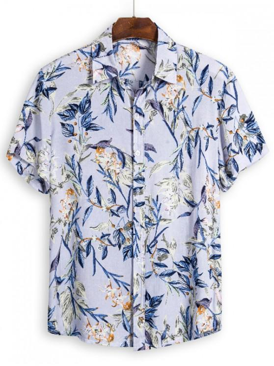 Foglie di stampa Button Up Hawaii Camicia - Multi Colori XL
