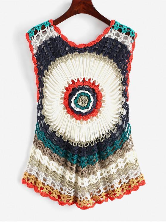 Metallico del filetto Crochet Cover-up Top - Multi Colori-A Taglia unica