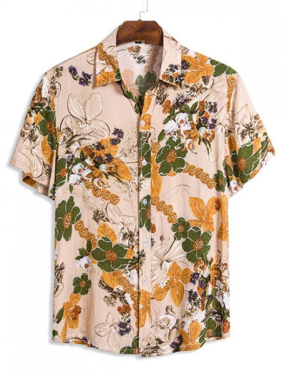 Stampa floreale corta tasto del manicotto camicia di - Multi Colori XL
