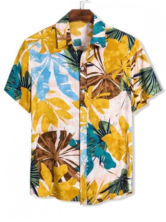 Foglia Stampa Slim Fit Camicia Hawaii - Multi Colori M