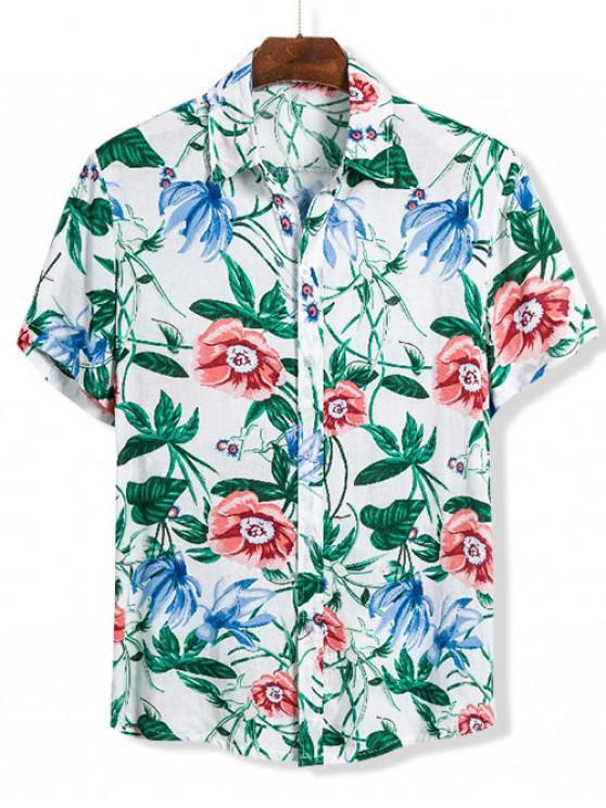Stampa floreale manica corta Camicia Hawaii - Multi Colori XL