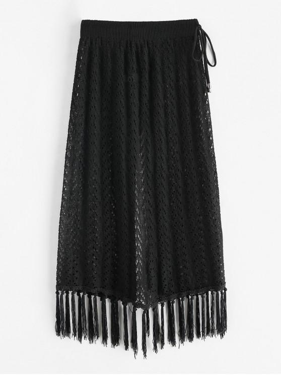 shops Drawstring Fringed Beach Crochet Skirt - BLACK ONE SIZE
