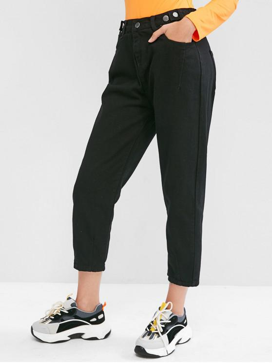 women's High Waisted Pocket Pencil Mom Jeans - BLACK L