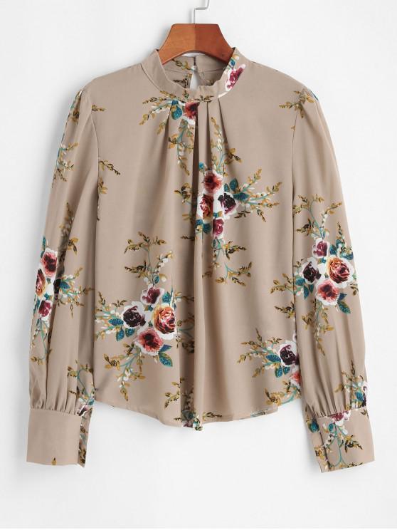 womens Button Loop Mock Neck Floral Blouse - APRICOT M