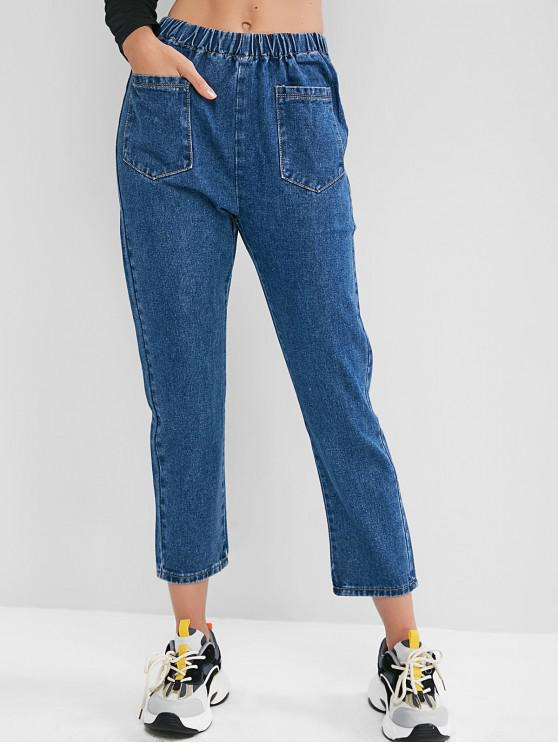 outfits Elastic Waist Pocket Pencil Mom Jeans - BLUE S
