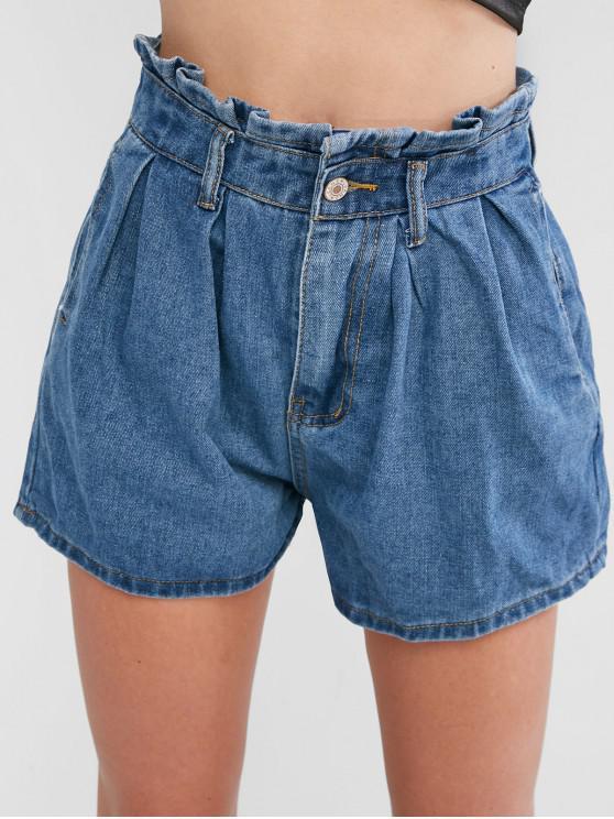 Denim Due tasche Paperbag Shorts - Blu S