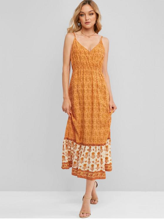 Ditsy الزهور كامي الرداء الكهنوتي ميدي اللباس - القرع البرتقال M