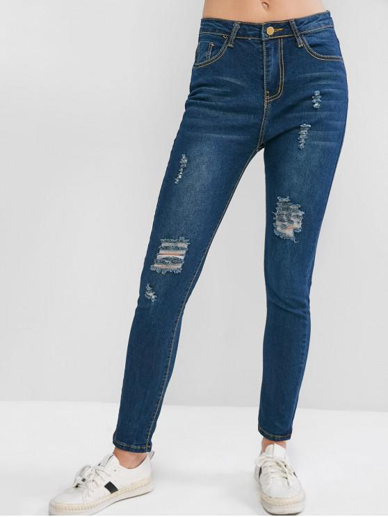 outfits High Waisted Pockets Distressed Skinny Jeans - BLUE S