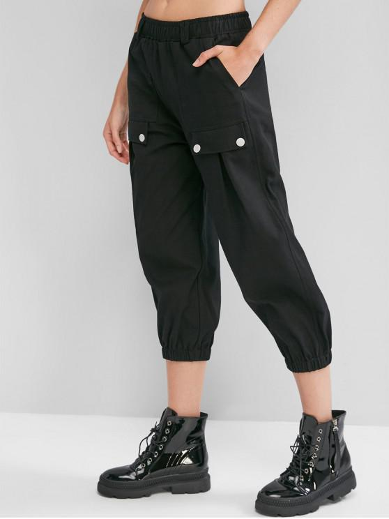 latest Pocket Elastic Waist Cargo Jogger Pants - BLACK XL