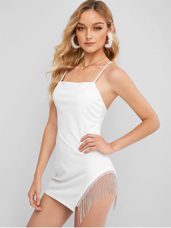 黨的水鑽流蘇的十字交叉連衣裙 - 白色 S