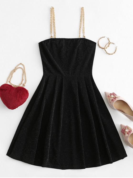 ZAFUL鏈條金屬閃閃發光的派對小禮服 - 黑色 XL