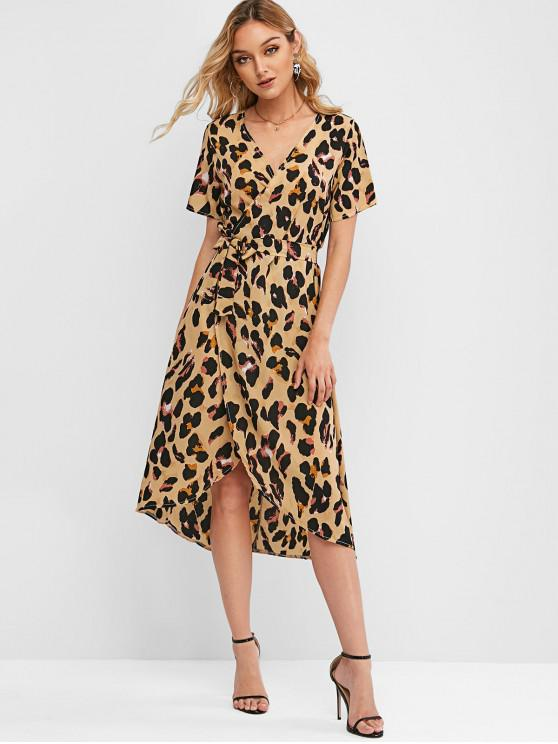 women Leopard Belt Midi Wrap Dress - MULTI-A M
