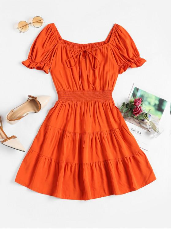 fancy Smocked Waist Tie Collar Mini Milkmaid Dress - ORANGE M