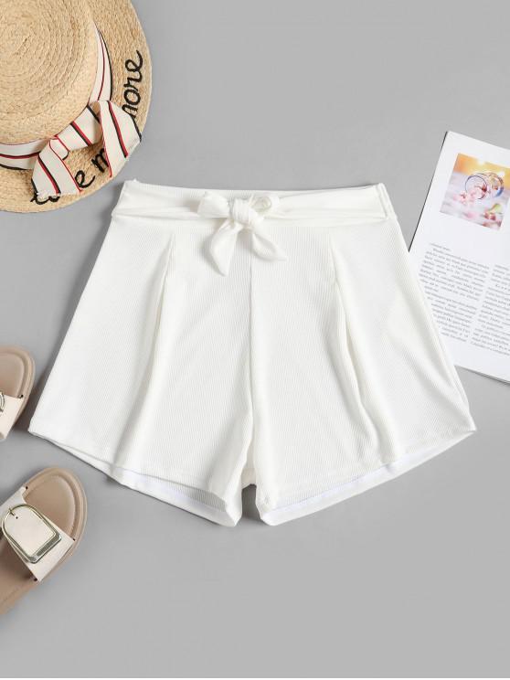ZAFUL Ribbed Belted Wide Leg Beach Shorts - أبيض M
