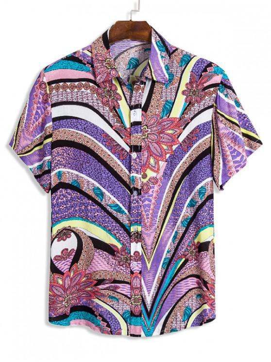Camisa Hawaii Chevron Rayado - Multicolor M