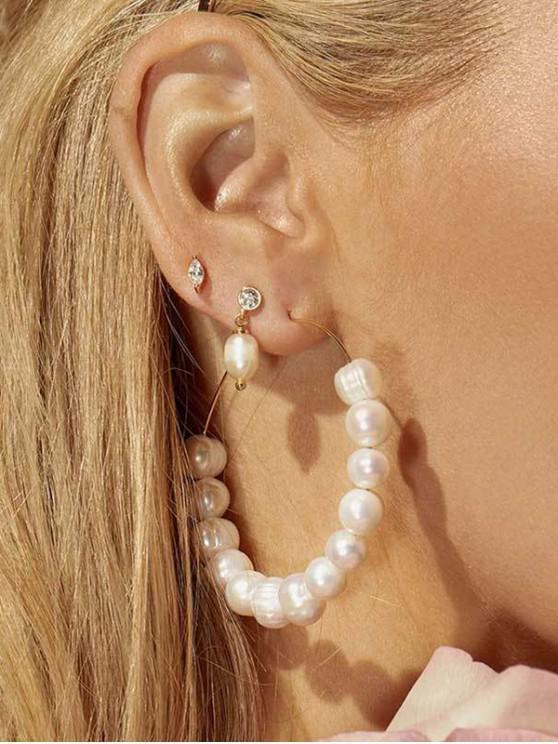 Pendientes del aro de la boda de la perla de Faux - Blanco