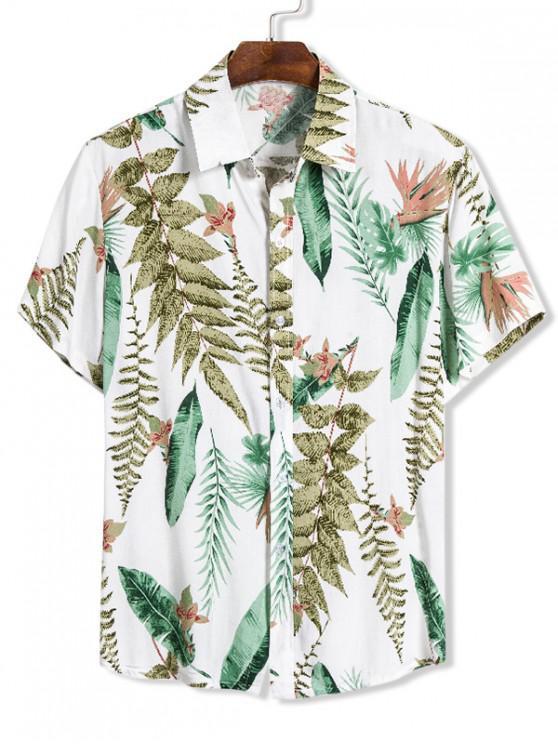 Camisa Hawaii deEstampadode Hojas con Manga Corta - Multicolor M