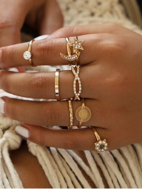 chic 8 Piece Rhinestone Star Moon Floral Finger Rings Set - GOLD