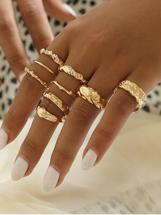 affordable 9 Piece Simple Style Crinkle Metal Finger Rings Set - GOLD