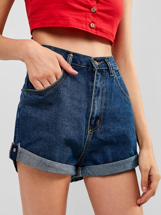 sale High Waisted Denim Cuffed Shorts - DENIM DARK BLUE S