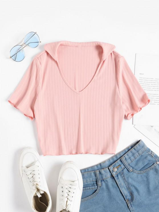 chic ZAFUL V Neck Ribbed Cropped Tee - PINK ROSE L