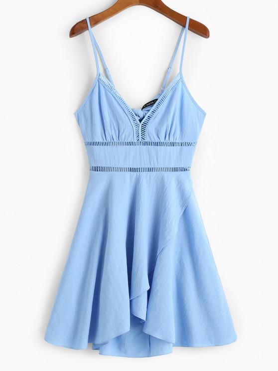 fashion ZAFUL Crochet Panel Tulip Hem Cami Dress - LIGHT SKY BLUE XL