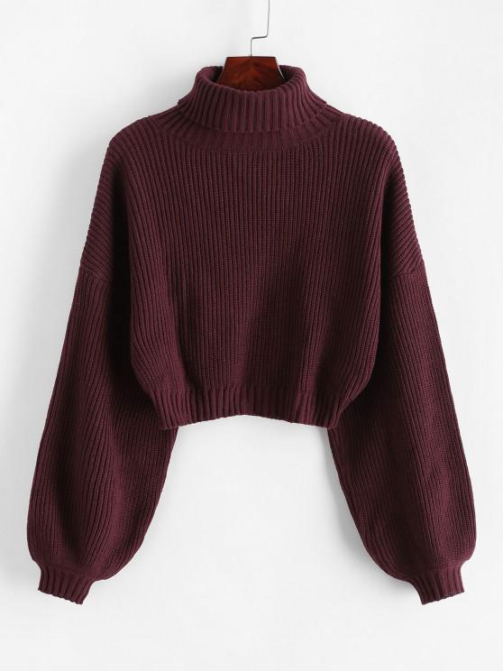 online ZAFUL Turtleneck Lantern Sleeve Cropped Sweater - RED WINE S