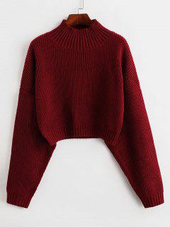 ZAFUL Drop Shoulder Mock Neck Plain Sweater - Red M